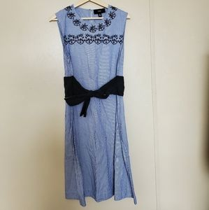 Yyigal Blue White Striped Dress With Embroidery
